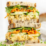 close up of chickpea salad sandwich