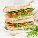 close up of smoke tofu sandwich
