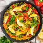 Vegetarian paella in a pan