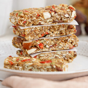 Vegan granola bars piled on top of each other
